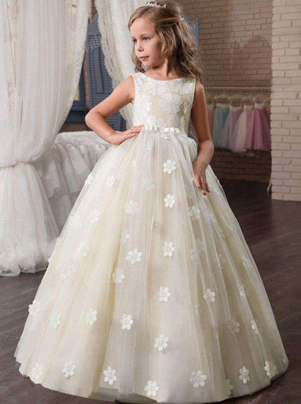Girls Champagne Sleeveless Floral Bow Pageant Communion & Flower Girl Party Dress - 6 - Girls Gown