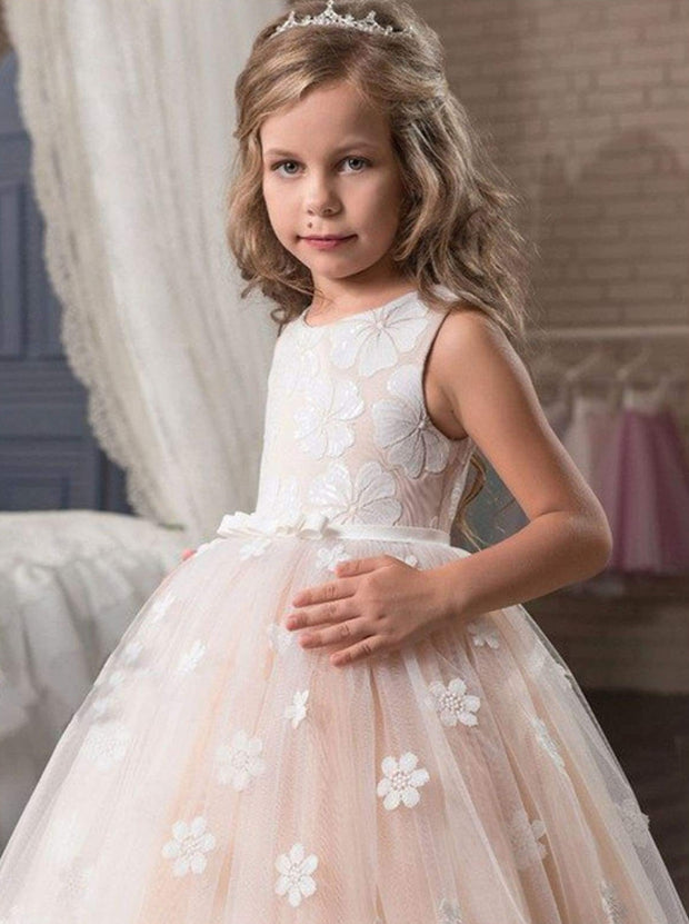 Girls Champagne Sleeveless Floral Bow Pageant Communion & Flower Girl Party Dress - Girls Gown