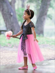 Girls Charcoal & Pink Princess Overlay Dress with Large Bow - Girls Spring Dressy Dress