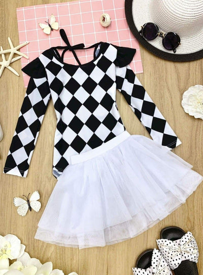 Girls Checkered Ruffled Open Back Rash Guard One Piece Swimsuit With Tutu Skirt - Black / 4T - Girls One Piece Swimsuit