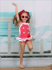 Girls Checkered Ruffled Skirted One Piece Swimsuit - Girls One Piece Swimsuit