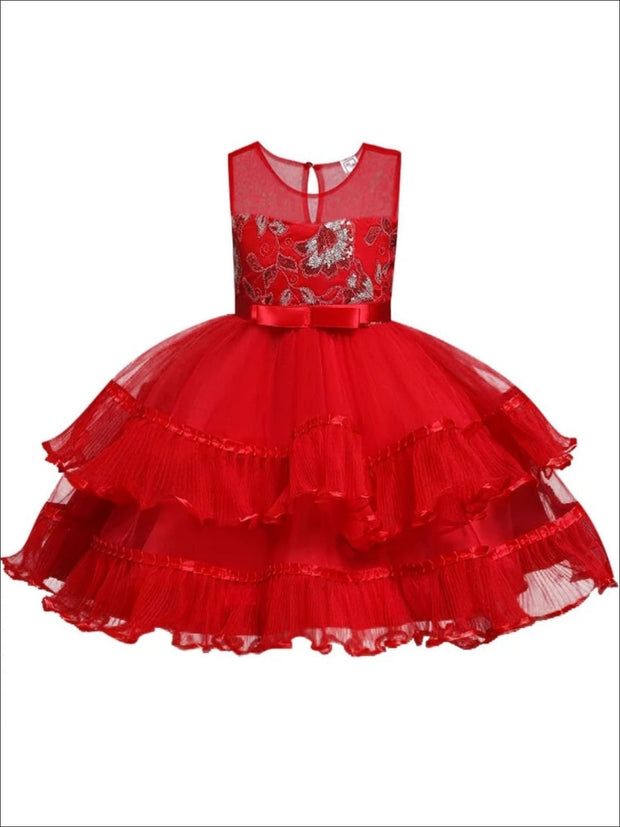 Girls Chiffon Embroidered Tiered Ruffle Holiday Dress - Girls Fall Dressy Dress