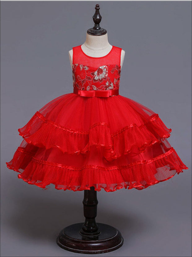 Girls Chiffon Embroidered Tiered Ruffle Holiday Dress - Red / 3T/4T - Girls Fall Dressy Dress