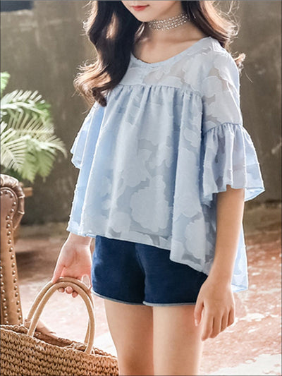 Girls Chiffon Flare Sleeve Hi-Low Top & Denim Shorts Set - Light blue / 3T - Girls Spring Casual Set