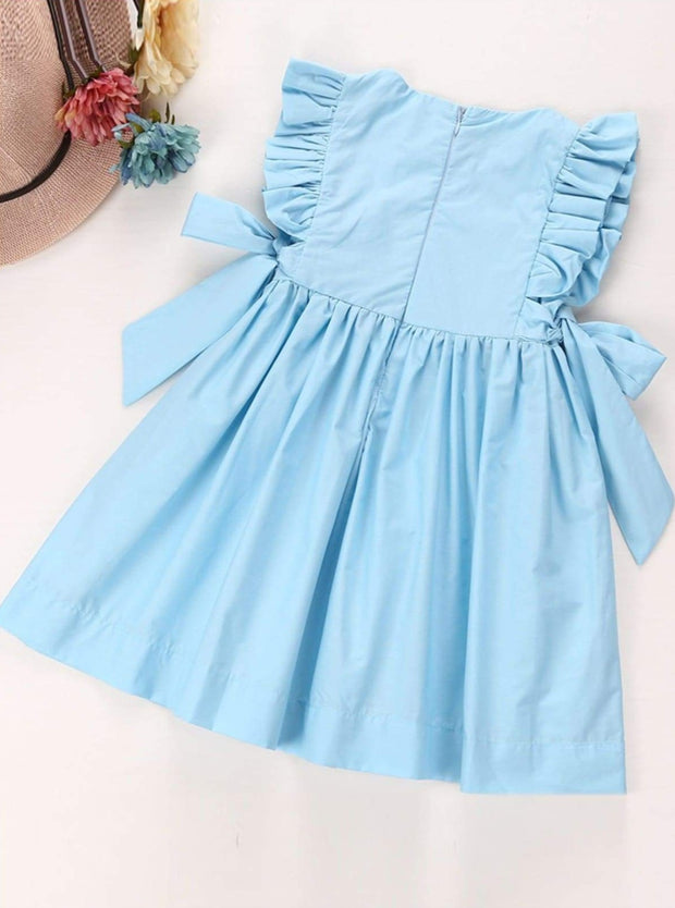 Girls Chiffon Ruffled Sleeve Side Bow A-Line Dress - Girls Spring Casual Dress