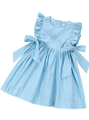 Girls Chiffon Ruffled Sleeve Side Bow A-Line Dress - Blue / 3T - Girls Spring Casual Dress