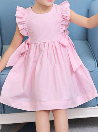 Girls Chiffon Ruffled Sleeve Side Bow A-Line Dress - Pink / 3T - Girls Spring Casual Dress