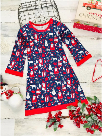 Girls Christmas Print Long Sleeve A-Line Twiggy Dress - Navy / 2T/3T - Girls Christmas Dress
