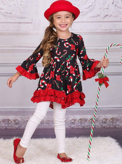 Girls Christmas Themed Candy Cane Print Long Sleeve Crochet Ruffled Tunic - Girls Christmas Top