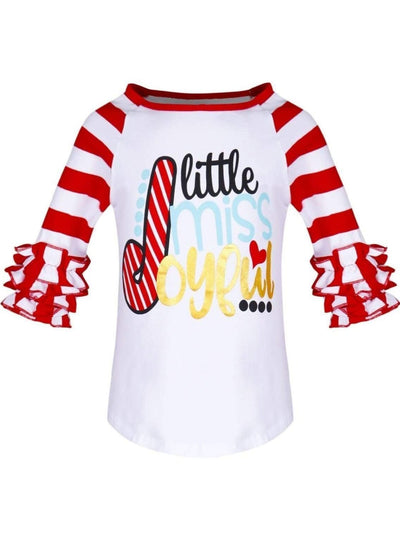 Girls Christmas Themed Little Miss Joyful Candy Cane Striped Long Ruffled Sleeve Raglan Top - Girls Christmas Top