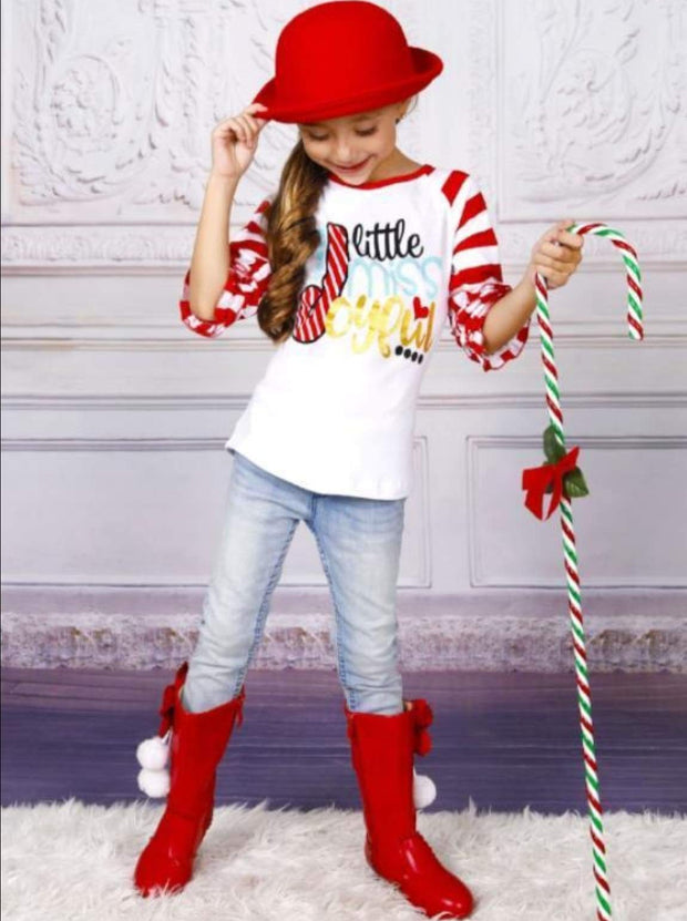 Girls Christmas Themed Little Miss Joyful Candy Cane Striped Long Ruffled Sleeve Raglan Top - White / S-3T - Girls Christmas Top