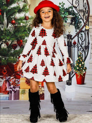 Girls Christmas Themed Long Ruffled Sleeve Polka Dot Christmas Tree Print Dress - Girls Christmas Dress