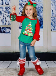 Girls Christmas Themed Long Ruffled Sleeve Raglan Top - Fall Graphic Top
