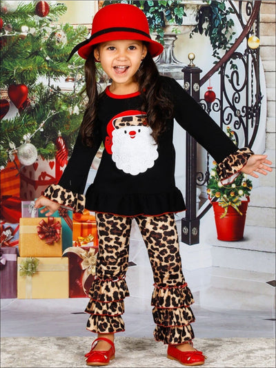 Girls Christmas Themed Long Sleeve Santa Applique Tunic & Ruffled Animal Print Leggings Set - Girls Christmas Set