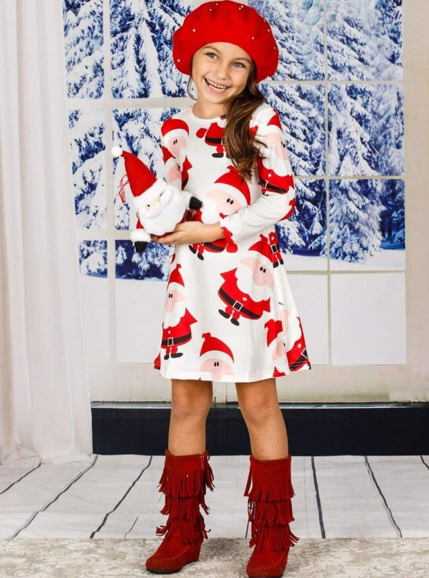 Girls Christmas Themed Long Sleeve Santa Print Dress - Girls Christmas Dress