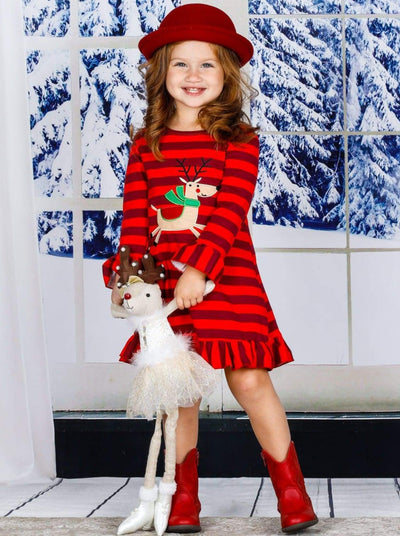 Girls Christmas Themed Long Sleeve Striped Reindeer Ruffled Dress - Girls Christmas Dress