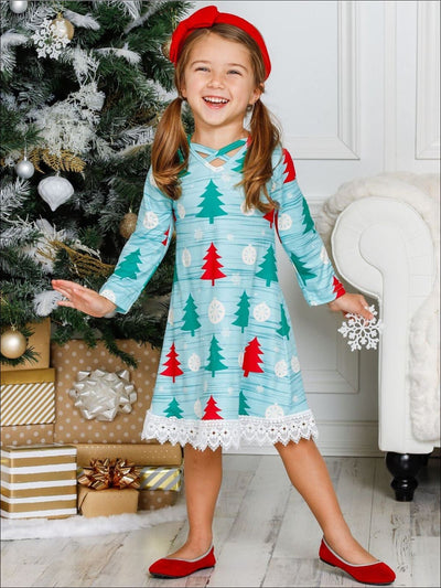 Girls Christmas Themed Long Sleeve Christmas Tree Print Lace Dress - Girls Christmas Dress