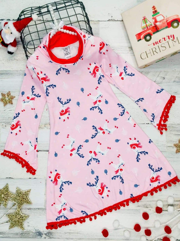 Girls Christmas Themed Long Sleeve Turtle Neck A-Line Sweater Dress with Pom Pom Trim - Pink / 2T/3T - Girls Christmas Dress