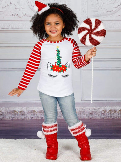 Girls Christmas Themed Long Striped Raglan Sleeve Unicorn Top - Girls Christmas Top