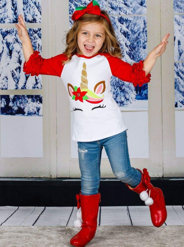 Girls Christmas Themed Poinsettia Unicorn Ruffled Long Raglan Sleeve Top - Fall Graphic Top