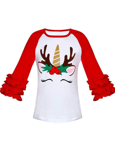 Girls Christmas Themed Ruffled Long Raglan Sleeve Unicorn Reindeer Top - White / XS-2T - Girls Christmas Top
