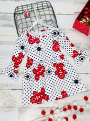 Girls Christmas Themed Ruffled Long Sleeve Polka Dot Gingerbread Print Dress - White / XS-2T - Girls Christmas Dress