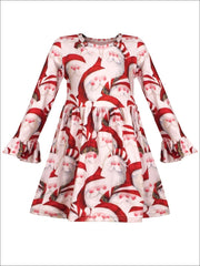 Girls Christmas Themed Santa Print Long Bell Sleeve Dress - Girls Christmas Dress
