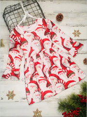 Girls Christmas Themed Santa Print Long Bell Sleeve Dress - Red / S-3T - Girls Christmas Dress