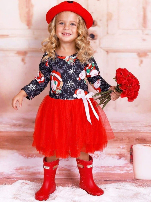 Girls Christmas Themed Santa Snowflake Print Long Sleeve Tutu Dress - Red / 3T - Girls Christmas Dress