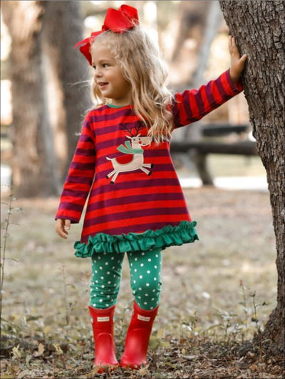 Girls Christmas Themed Striped Rudolph Applique Long Sleeve Tunic & Polka Dot Leggings Set - Girls Christmas Set