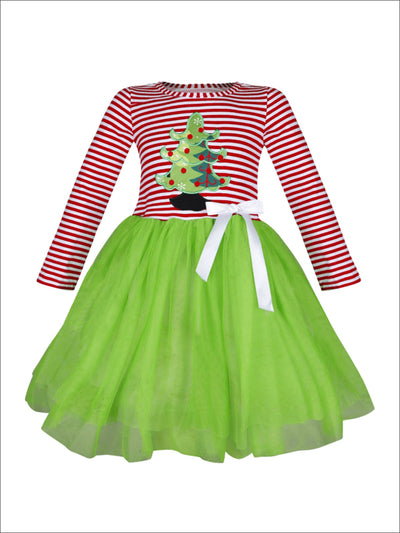 Girls Christmas Themed Striped Christmas Tree Applique Long Sleeve Tutu Dress - Green / S-3T - Girls Christmas Dress