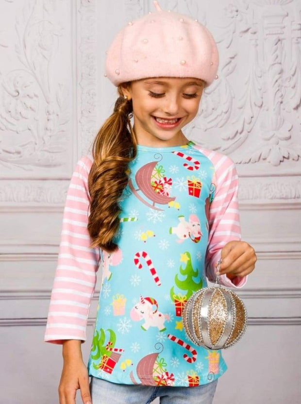 Girls Christmas Themed Unicorn Print Raglan Long Sleeve Top with Elbow Patches - Girls Christmas Top