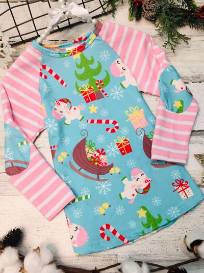 Girls Christmas Themed Unicorn Print Raglan Long Sleeve Top with Elbow Patches - Blue / XS-2T - Girls Christmas Top