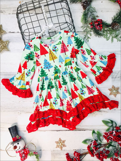 Girls Christmas Tree Bell Sleeve Tiered Lace Dress - Mint / 2T - Girls Christmas Dress