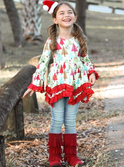 Girls Christmas Tree Tunic with Red Ruffles - Girls Christmas Top