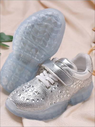 Girls Cinderella Rhinestone Adorned Sneakers with Velcro Strap - Girls Sneakers