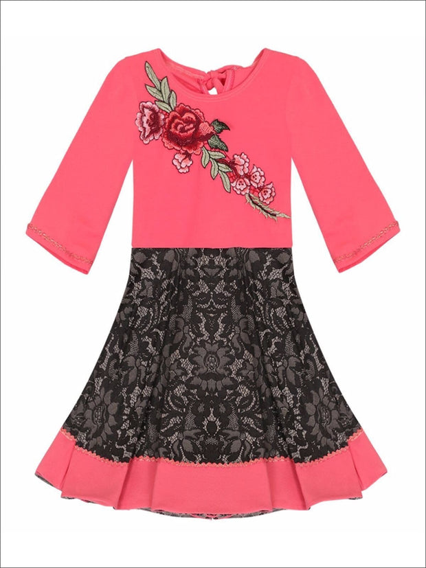 Girls Circular Lace Skirt 3/4 Sleeve Dress with Flower Applique - Girls Fall Dressy Dress