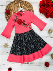 Girls Circular Lace Skirt 3/4 Sleeve Dress with Flower Applique - Pink / 2T/3T - Girls Fall Dressy Dress