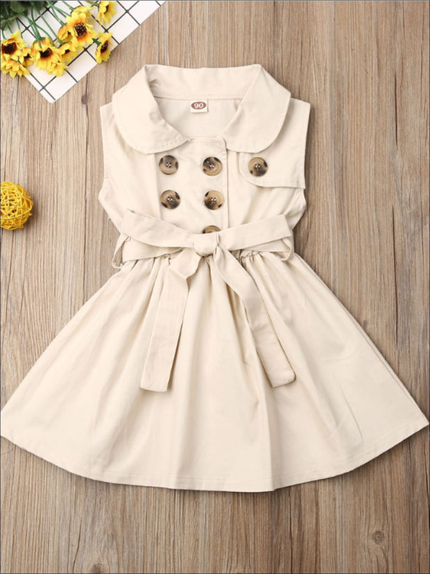 Girls Classic Collared Double Button Coat Dress - Beige / 2T - Girls Casual Spring Dress