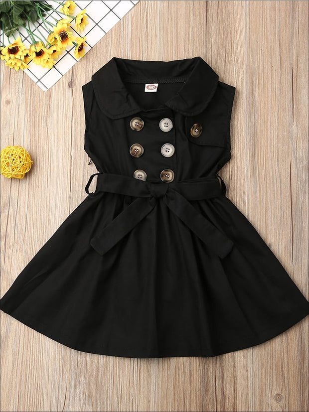 Girls Classic Collared Double Button Coat Dress - Black / 2T - Girls Casual Spring Dress