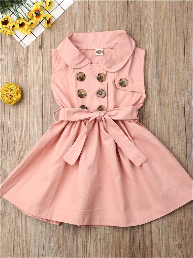 Girls Classic Collared Double Button Coat Dress - Pink / 2T - Girls Casual Spring Dress