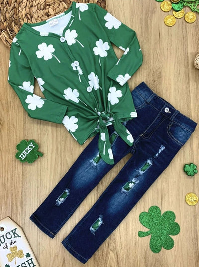 Girls Clover Buttoned Knot Top and Ripped Jeans Set - Green / 2T - Girls St. Patricks Set