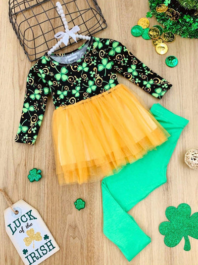 Girls Clover Swirl Tutu Tunic and Leggings Set - Gold / 2T - Girls St. Patricks Set