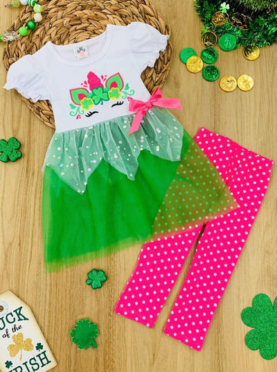 Girls Clover Unicorn Tutu Tunic and Polka Dot Leggings Set - Green / 2T - Girls St. Patricks Dress