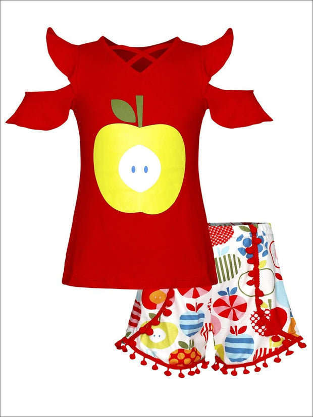 Girls Cold Shoulder Apple Print Top & Apple Print Pom Pom Shorts Set - Red / 4T - Girls 1st Day of School