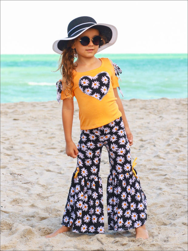 Girls Cold Shoulder Bow Applique Top & Side Slit Flared Palazzo Pants Set - Girls Spring Casual Set