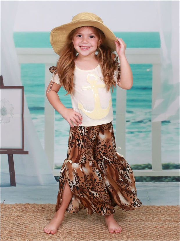 Girls Cold Shoulder Bow Applique Top & Side Slit Flared Palazzo Pants Set - Creme / 2T/3T - Girls Spring Casual Set