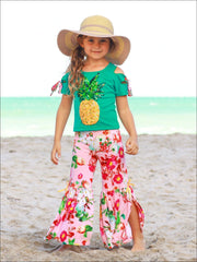 Girls Cold Shoulder Bow Applique Top & Side Slit Flared Palazzo Pants Set - Green / 2T/3T - Girls Spring Casual Set