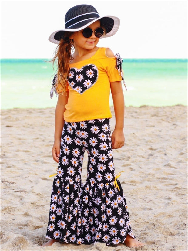 Girls Cold Shoulder Bow Applique Top & Side Slit Flared Palazzo Pants Set - Orange / 2T/3T - Girls Spring Casual Set