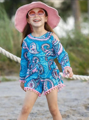 Girls Cold Shoulder Drawstring Romper with Pom Pom/ Crochet Trim - Girls Jumpsuit